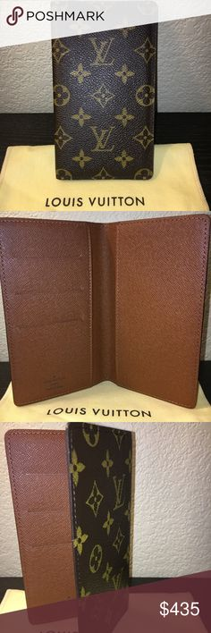 AUTHENTIC LOUIS VUITTON MONOGRAM CHECKBOOK COVER AUTHENTIC LOUIS VUITTON MONOGRAM CANVAS CHECKBOOK COVER  AUTHENTIC. GENTLY USED LV CHECKBOOK COVER in Monogram   Great condition, no obvious peeling or damage to leather  Product Details:  - Monogram canvas - Leather - Check book slip pocket -  3 credit card slots - Authenticity code located near seam of pocket. Code is CA0065 (see photo above) Louis Vuitton Bags Wallets