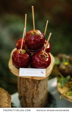 Forest birthday party inspiration |  | Toffee apples | Photography by Wynand van der Merwe
