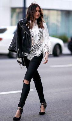 Camisa de Renda + Skinny Jeans