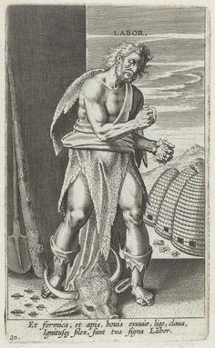 Philips Galle | Arbeid, Philips Galle, Cornelis Kiliaan, c. 1585 - c. 1590 | Staande man gekleed in dierenhuid en vuurstenen in zijn handen. Aan zijn voeten een stierenkop en kruipende mieren. Links van de man een spade en een knuppel. Rechts drie bijenkorven. De bij en de mier zijn symbolen van vlijt en arbeid. Onder de voorstelling drie regels tekst in het Latijn. De prent maakt deel uit van een album.