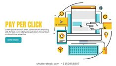Pay per click, Search engine marketing, Paid advertising flat line vector banner with icons and texts Search Engine Marketing, Royalty Free Images, Texts, Advertising, Banner, Icons, Illustrations, Stock Photos, Flat