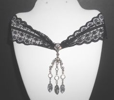 Vintage to Mod Black Lace and Rhinestones by Robert Rose signed Necklace