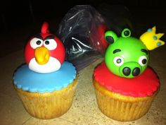 Should I Eat? We think it might be more fun to fire one at the other like the game. Angry Birds Cupcakes, More Fun, Things To Think About, Fire, Drink, Eat, Desserts, Tailgate Desserts, Beverage