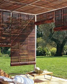 Use rollup venetian blinds for shade.