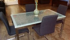 Interesting effect on this glass top dining room table! Shattered glass!!!! Reg $498.00 on sale $415.00