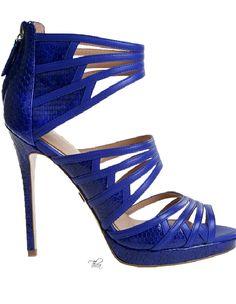 Badgley Mischka ~ Resort Royal Blue Leather Sandals w Zipper Details 2015