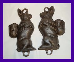 Vintage Cast Iron easter  bunny pan - Bunny mold baking pan   (# 4854)  $250.00