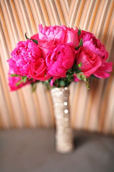 ideas for bridesmaid bouquets   hot pink peonies! #peony #pink #flowers #bouquet #wedding