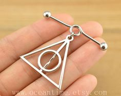 Harry potter industrial barbell piercing,Harry potter Deathly Hallows industrial barbell earring jewelry, harry potter ear jewelry,oceantime on Etsy, $7.99