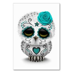 Cute Teal Day of the Dead Sugar Skull Owl White Table Cards