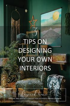 3-tips-designing-your-own-interiors Lounge Lighting, Retro Lighting, Dark Green Living Room, Green Lounge, Interior Styling, Interior Design, Dark Blue Green, Eclectic Living Room, Soft Furnishings