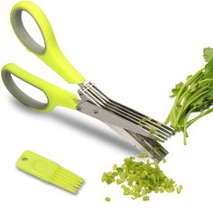 Herb Scissors - Multipurpose Kitchen Shears with 5 Stainless Steel Blades - Attached Handy Cleaning Comb  Chef Trusted Premium Cooking Gadget for a Healthy Meal(Green) #kitchen #gadgets @bestbuy9432
