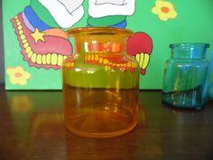 Orange Glass Jar Mod Orange Jar Hand Blown Orange by MadGirlRetro