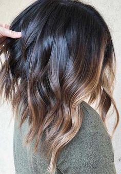 Brown Hair With Highlights, Caramel Highlights, Caramel Lob, Ombre Hair Long Bob, Ombre Hair Color, Pelo Midi, Balayage Brunette, Bronde Balayage, Pixie Cuts