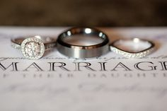 Typography and wedding rings photo. Classic and elegant