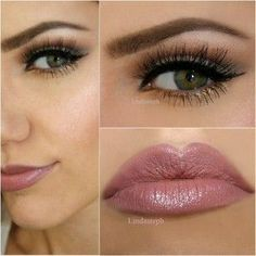 Hazel/Green Eyes with soft gold eyeliner and Nude/Pink Lips