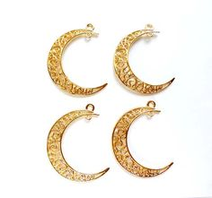 4 Gold Plated Crescent Moon Filigree Charm/Connectors by TreeChild1 on Etsy
