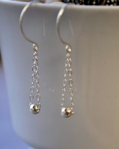 minimalist chain and bead earrings