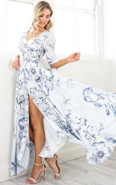 Lone Traveller maxi dress in blue floral SHOWPO