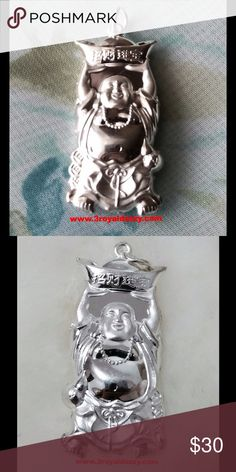 Smiling Gold Fortune Buddha Silver Hollow Pendant Metal :.999 Pendant Type :Buddha Approximate Width : 18 mm Approximate Height : 39.1 mm Approximate thickness : 8.4 mm Approximate Total Weight: 3.8 grams Finish : Polish / Matte Item # : S12181506 3 Royal Dazzy Jewelry