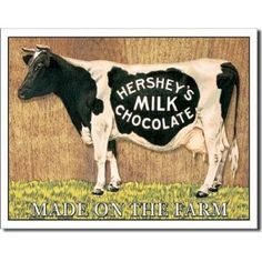 Hershey's Milk Chocolate Cow Retro Vintage Tin Sign - 13x16 , 16x13