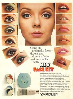 "1967 Yardley ad http://hair-and-makeup-artist.com   The 1960s was a youth-oriented decade – the ""baby boomers"" were coming of age and defined the decade as their own."