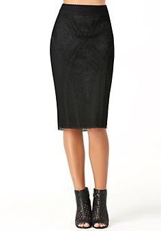 Net & Soutache Midi Skirt