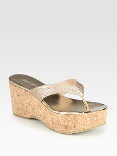 Jimmy Choo Pathos Glitter Cork Wedge Sandals.Php16692