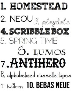 Sara Bee #free #fonts | Homestead, Neou, Playdate, Scribble Box, Spring Time, Lumos, Antihero, Alphabetized Cassette Tapes, Kaileen, Bebas Neue