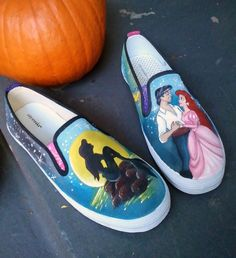 Disney Animation Inspired The Little Mermaid Custom Adult Shoes Size 7.5.