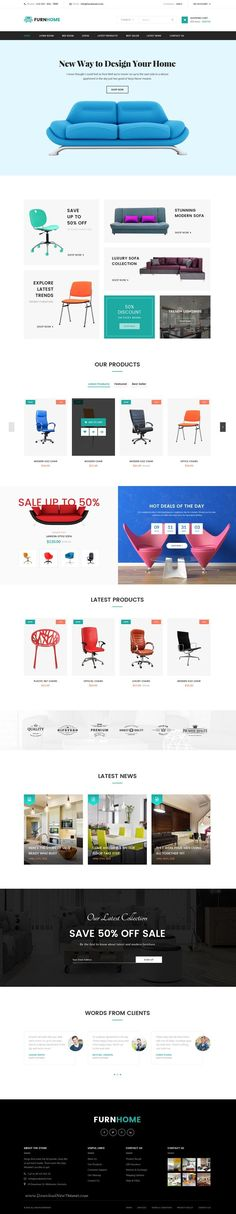Furnhome is stunning eCommerce HTML Template for or - Love a good success story? Learn how I went from zero to 1 million in sales in 5 months with an e-commerce stor Ecommerce Webdesign, Webdesign Layouts, Design Web, Graphic Design, Web Layout, Layout Design, Ui Web, Packaging, Website Design Inspiration
