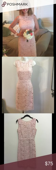 Lace Blush Pink Knee Length Bridesmaid Dess Perfect condition, worn once, neutral blush pink lace dress. Perfect for a bridesmaid dress, springy events, Easter dress and more! I am 5'5 and it hits right below the top of my knee Ellen Tracy Dresses Wedding