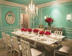 Dining Room - The roses are so simple yet make such a stunning impact. A perfect table setting for a chic party.