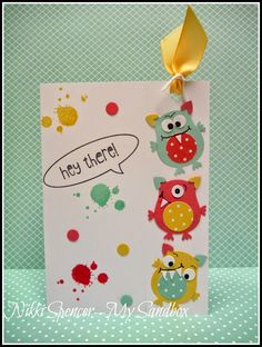 "2014  Monster Owls.... created using the Owl Builder Punch, 3/4"" Circle & Sm Star Punches and the colours l used are Pool Party, So Saffron & Strawberry Slush! To create the bookmark, l used the perforated rotary wheel from SU."