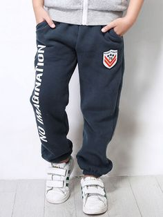 Letter Printed Pure Cotton Sports Casual Dark Blue Trousers