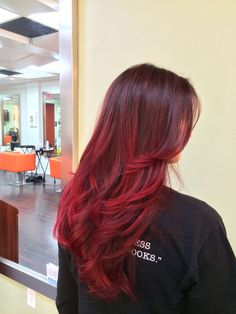 Sexy Red Balayage Highlights Dark Weave Hair