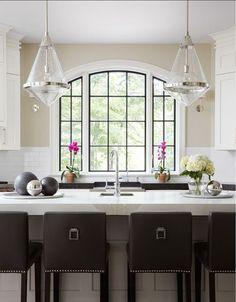 Kitchen Island. Kitchen Island Ideas. Transitional kitchen with large gray island and transitional pendant lighting. #Kitchen
