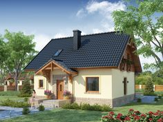 DOM DS2-50 - gotowy projekt domu Prefabricated Houses, Small House Design, Cottage Homes, Home Fashion, Traditional House, Lodges, Home Interior Design, Tiny House, Gazebo