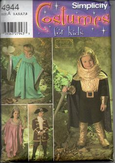 Kid's Costume Pattern: Knight, Princess and Pirate, Sizes 3-8 Simplicity  Designed by Andrea Schewe4944 Uncut