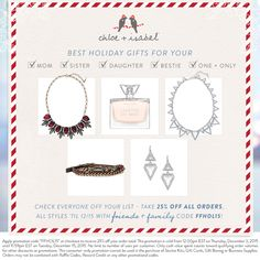 Exclusively for my Friends + Family: 25% off holiday gifts for everyone on your list!  chloeandisabel.com/boutique/cocolynn