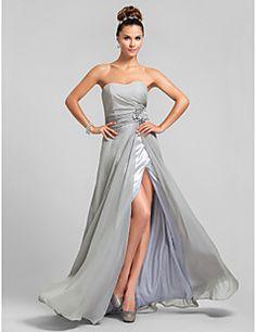 vestido de novia de la columna vaina de gasa longitud del piso vestido de dama de honor