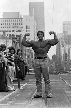 Arnold Schwarzenegger in Melbourne, Australia as a guest star at the Mr Southern Hemisphere competition. 1974