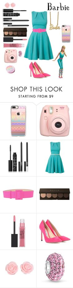 """Barbie"" by crystalgems125 ❤ liked on Polyvore featuring Casetify, Fujifilm, NARS Cosmetics, Closet, FAUSTO PUGLISI, Maybelline, Jimmy Choo and Bling Jewelry"