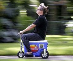 Don't let a DUI license suspension stop you from enjoying the freedom of cruising around while drinking – with the motorized cooler scooter you can stay mobile while keeping your freedom fighting beers as cold as the rockies. 'Murica salutes you.