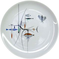 Richard Koppe Plate Design for Well of the Sea Restaurant, Chicago, ca. 1954 Mid Century Art, Mid Century Style, Mid Century Modern Art, Mid Century Decor, Mid Century Modern Design, Mid Century Modern Furniture, Mid Century House, China Painting, Retro Kitchens