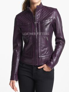 Quilted Style Women Leather Moto Jacket for Autumn