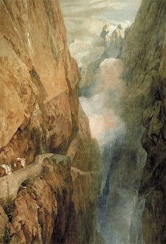 St Gotthard Pass, watercolor with scratchout on paper, by Joseph Mallord William Turner, 1804 Joseph Mallord William Turner, Watercolor Landscape Paintings, Landscape Art, Watercolor Painting, Art Romantique, Turner Painting, English Romantic, Art Uk, Oeuvre D'art