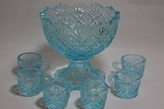 Children's Adorable Blue Westmoreland Glass Punch   Bowl Set.