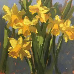 """Daffodils - tête à tête - 6"""" x 6"""" (15.3cm x 15.3cm) - Oil"""