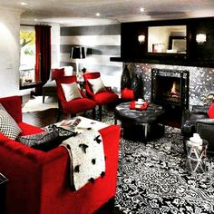 Classic Black And Red Living Room Ideas Interior